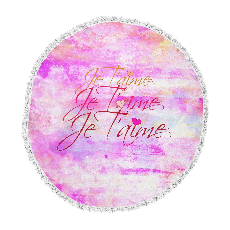 Kess InHouse EBI Emporium Je TAime II Abstract Pink Round Beach Towel Blanket