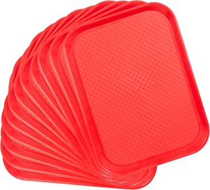 12-pack Fast Food Cafeteria Tray | Twelve 12 x 16 Rectangular Textured Plastic Food Serving TV Tray Multipack | School Lunch, Diner, Commercial Kitchen Restaurant Equipment (Red)