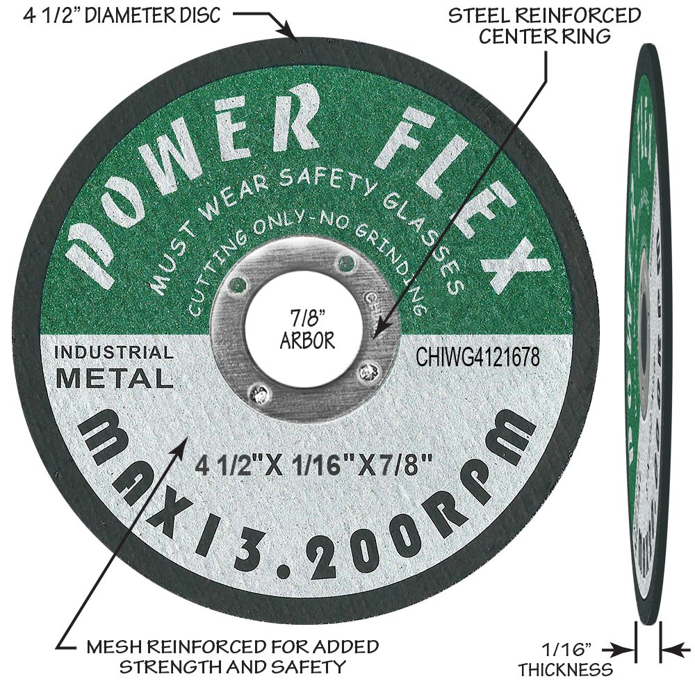 For Cutting All Steel and Ferrous Metals. 50 PACK CUT OFF WHEELS 4 1//2 x 1//16 x 7//8