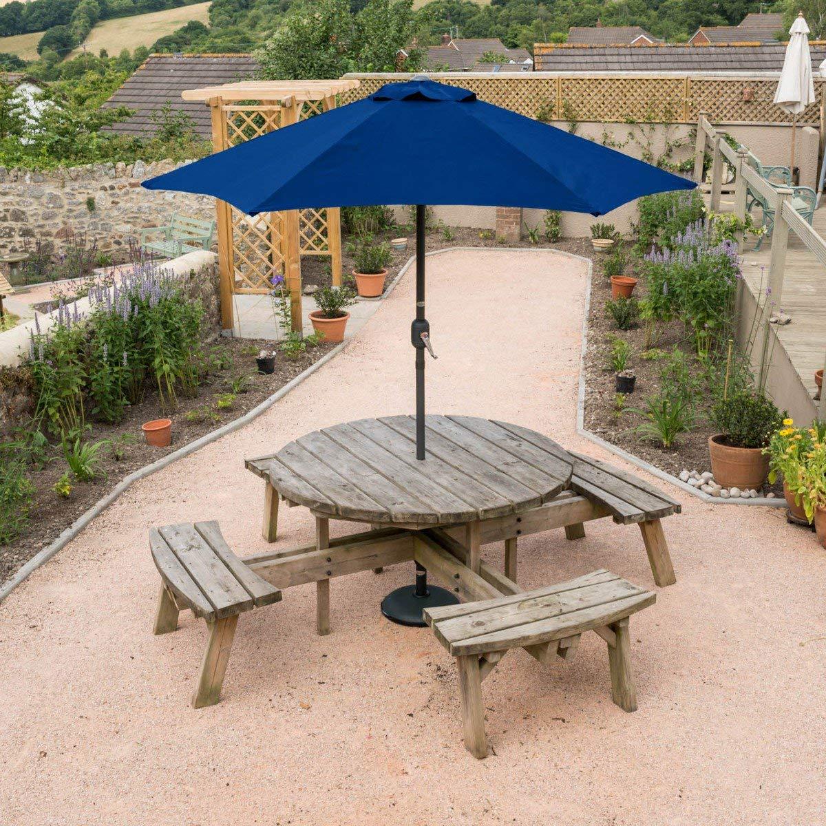 Christow Garden Parasol Umbrella Aluminium Patio Sun Shade UV With Crank 2.4m