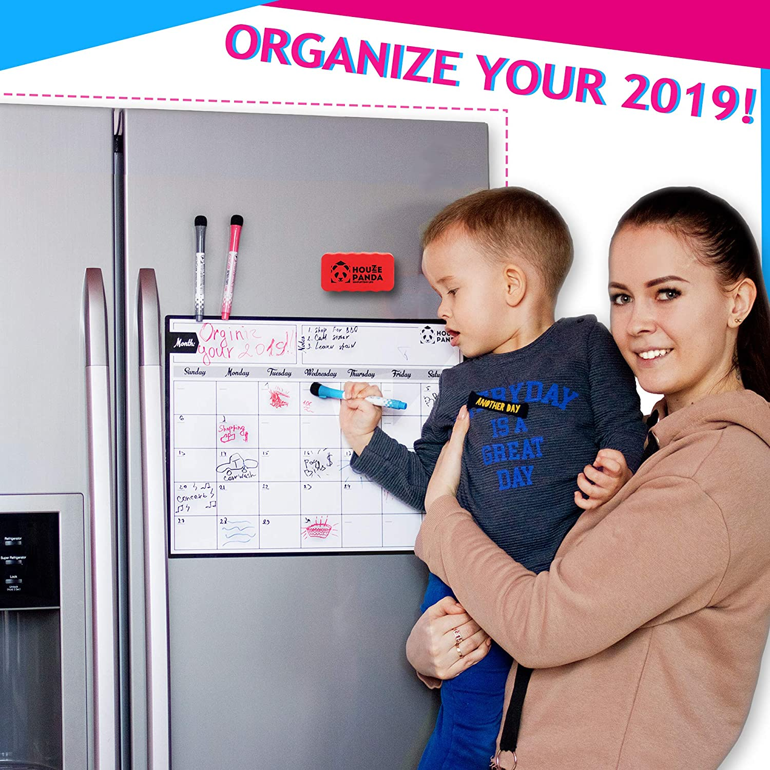 "Magnetic Dry Erase Calendar for Refrigerator - Best Family Calendar for Fridge 16,5""x12,5"" - Monthly Calendar for Kitchen - 3 Fine Tip Markers and Large Eraser with Magnets - Whiteboard for Planners"