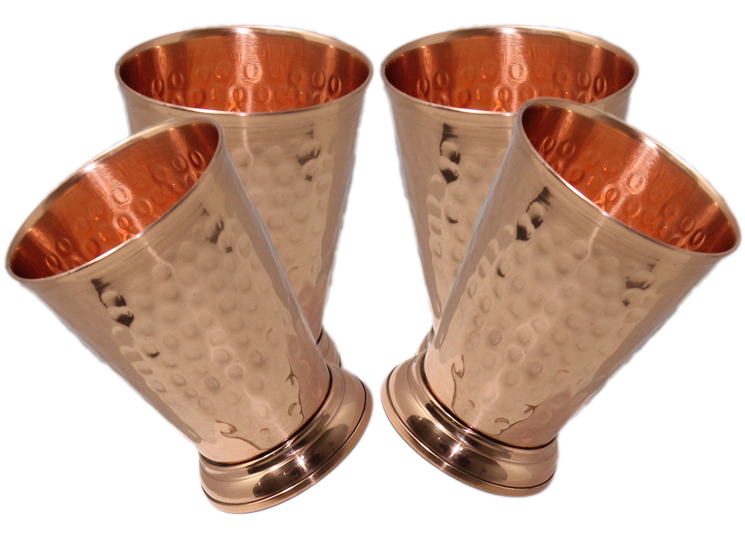 STREET CRAFT Hammered Copper Mint Julep Cup Hammered Copper Moscow Mule Mint Julep Cup 100% Pure Copper Handcrafted Without Doted Capacity 12 Oz.Set of 4