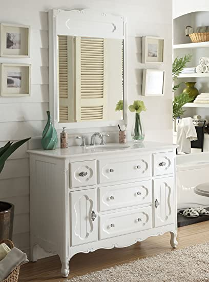 48quot Victorian Cottage White Knoxville Bathroom Vanity W Mirror GD 1522W