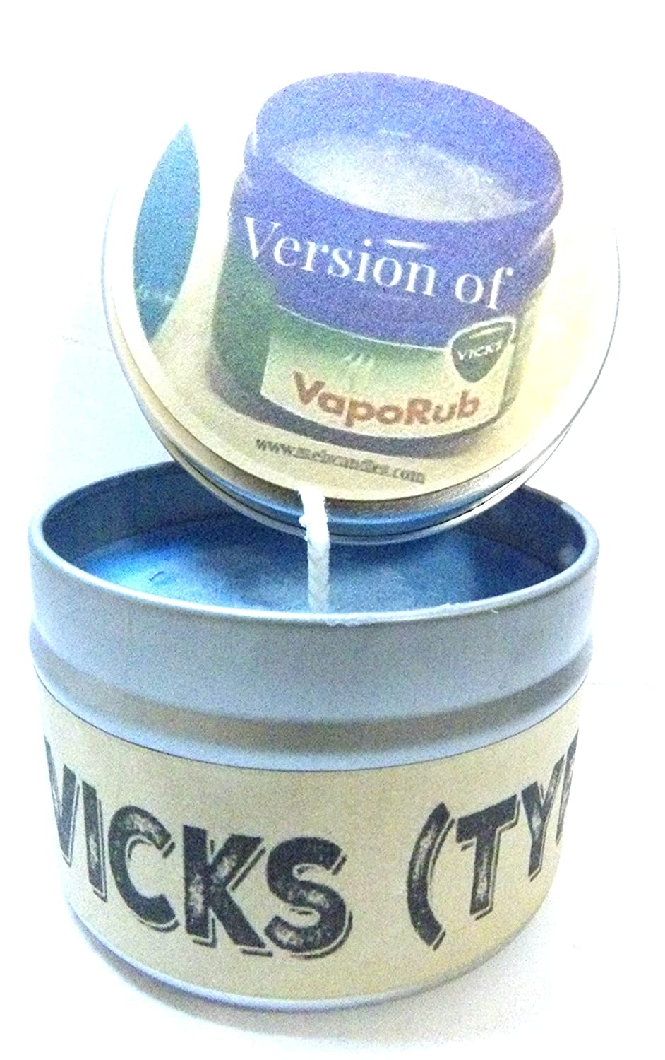 Vicks Vapor Rub (Type) 4 Oz All Natural Soy Candle Tin Approximate Burn Time 36 Hours Mels Candles & More