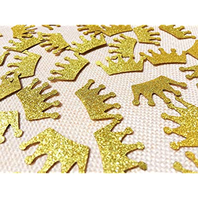 Gold Crown Double-Side Glitter Paper Confetti for for Party Decor and Table Decor - 100pcs/pack: Health & Personal Care