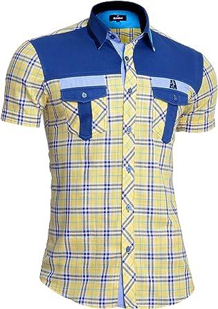 Mondo Camisa de Lino de Manga Corta para Hombre Cuadros Amarillos Algodón Bolsillos Delanteros: Amazon.es: Ropa y accesorios