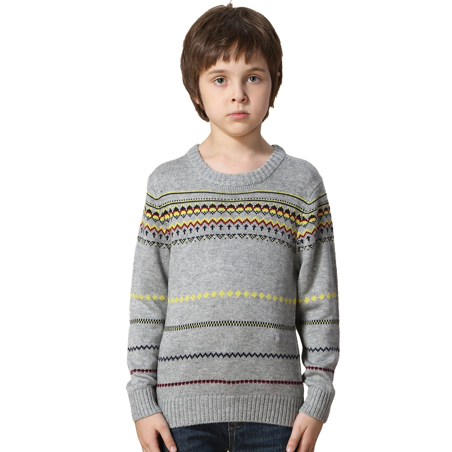 Leo&Lily Boys' Wool Blends Casual Dobby Sweater Pullover Jacquard (6)
