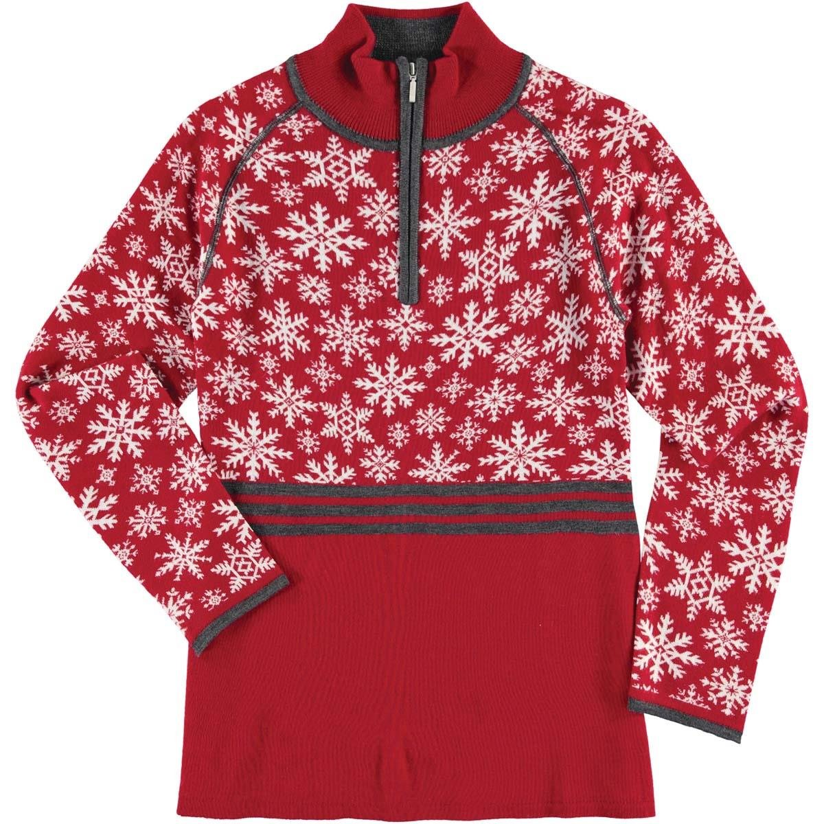 Krimson Klover Womens Eva Maria 1/4 Zip Pullover Sweater (Red / X-Large)