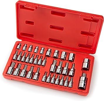 Juego de 10 piezas de llaves de vaso estriadas con ranura de 12 puntos M4-M18 1//4 pulgadas 3//8 pulgadas 1//2 pulgadas