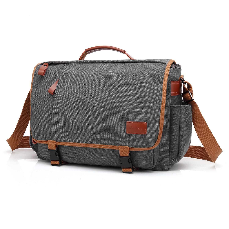 Amzbag Messenger Bag for Work/Travel 15.6 Inches Canvas Laptop Shoulder Bag for Tablet/Notebook/Macbook Briefcase for Men/Women (Dark Gray)