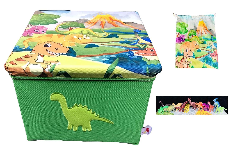 YESY Toy Box Storage, My Dino Box , Dinosaur Storage Toy Box , Foldable Toy Box and Chair with 12 Dino's DinoBox