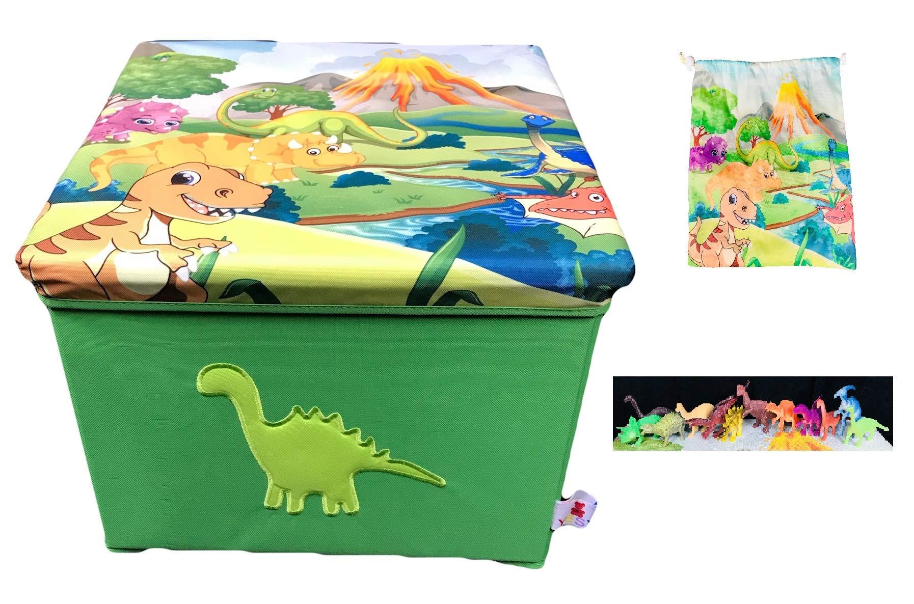 YESY Toy Box Storage, My Dino Box , Dinosaur Storage Toy Box , Foldable Toy Box and Chair with 12 Dino's