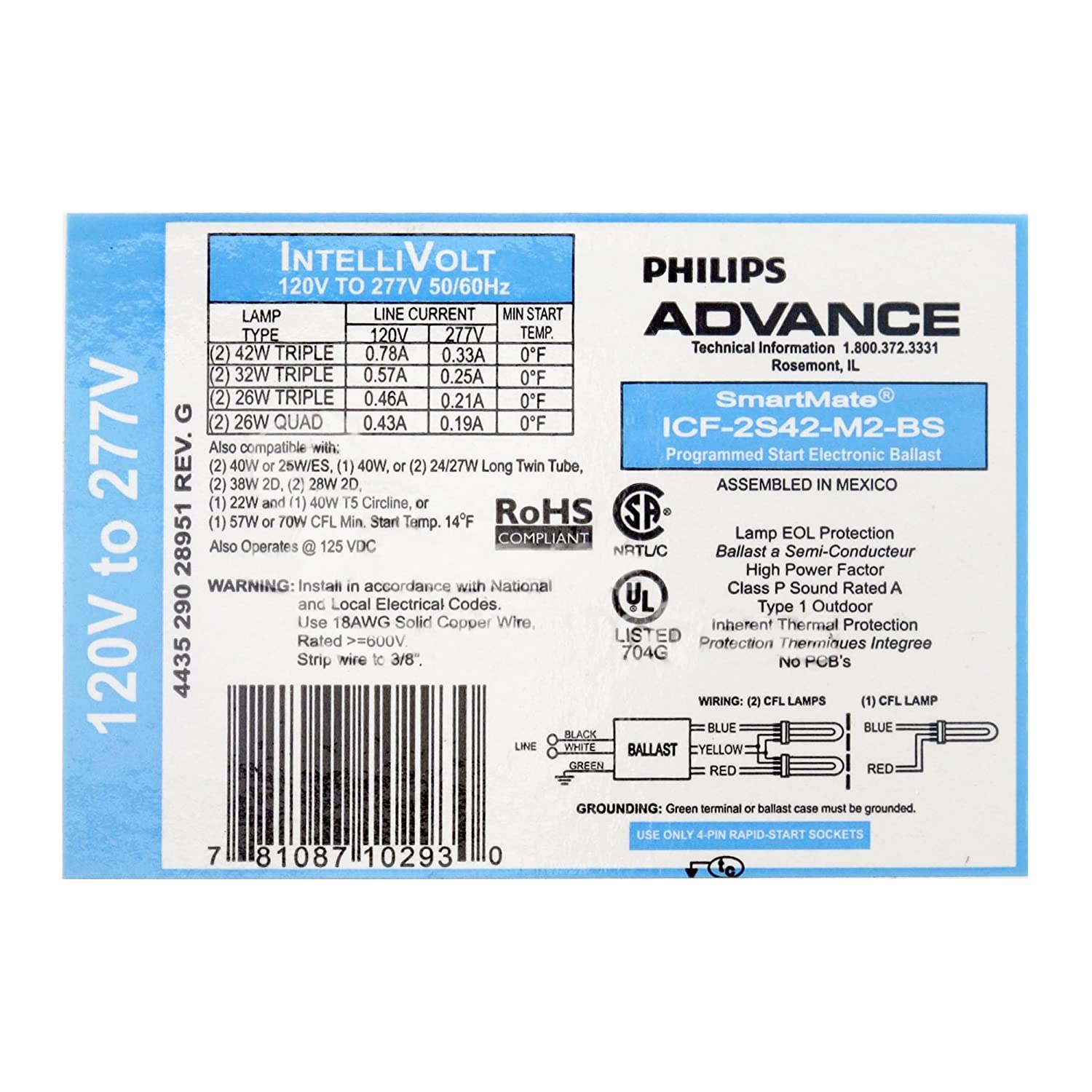 Philips Advance ICF-2S42-M2-BS Compact Fluorescent Ballast, 120/277V, 42W Triple Philips Group