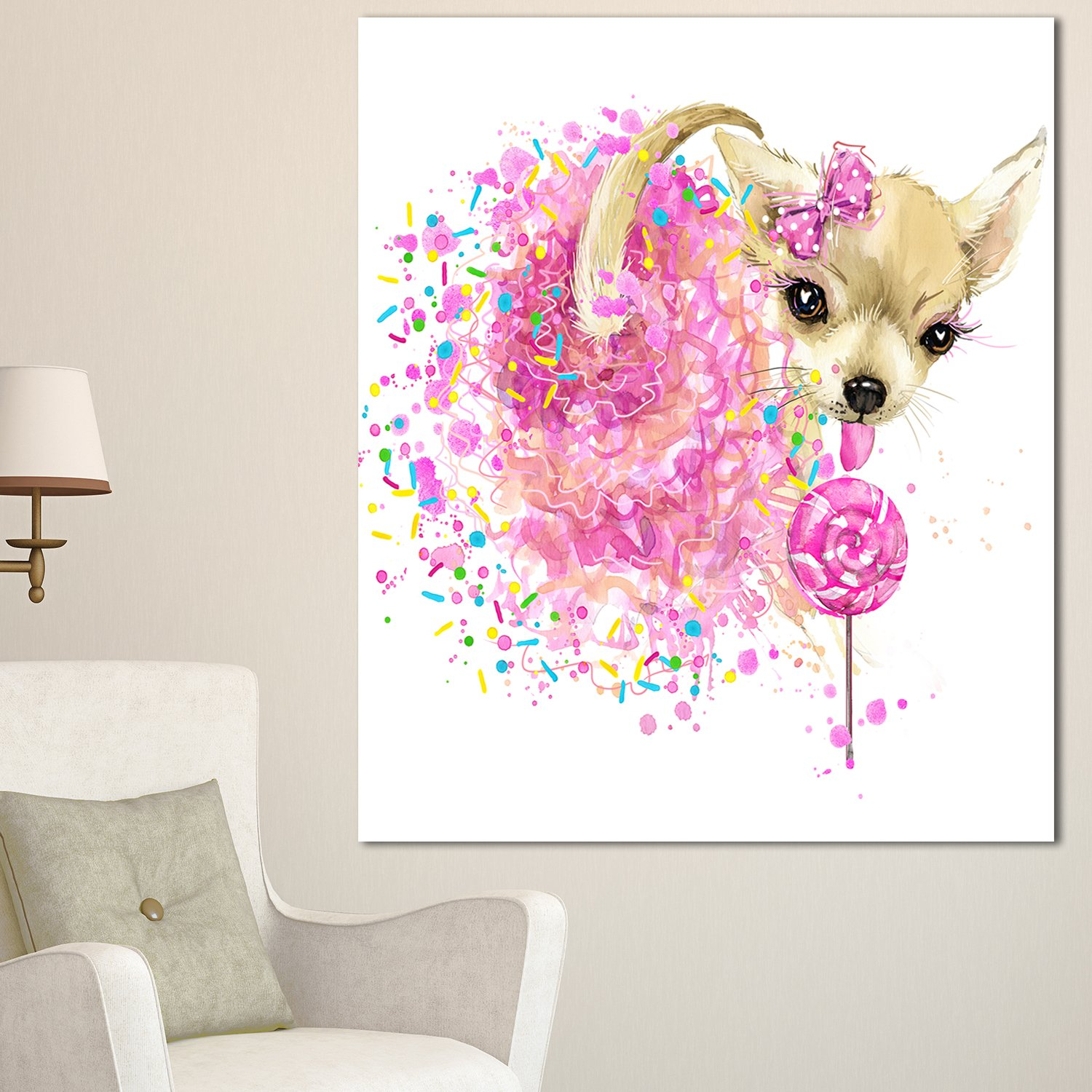 Designart Mt13394 30 40 Sweet Pink Dog Without Glasses Large Animal Glossy Metal Wall Art 30x40 Pink 30x40 Amazon In Home Kitchen