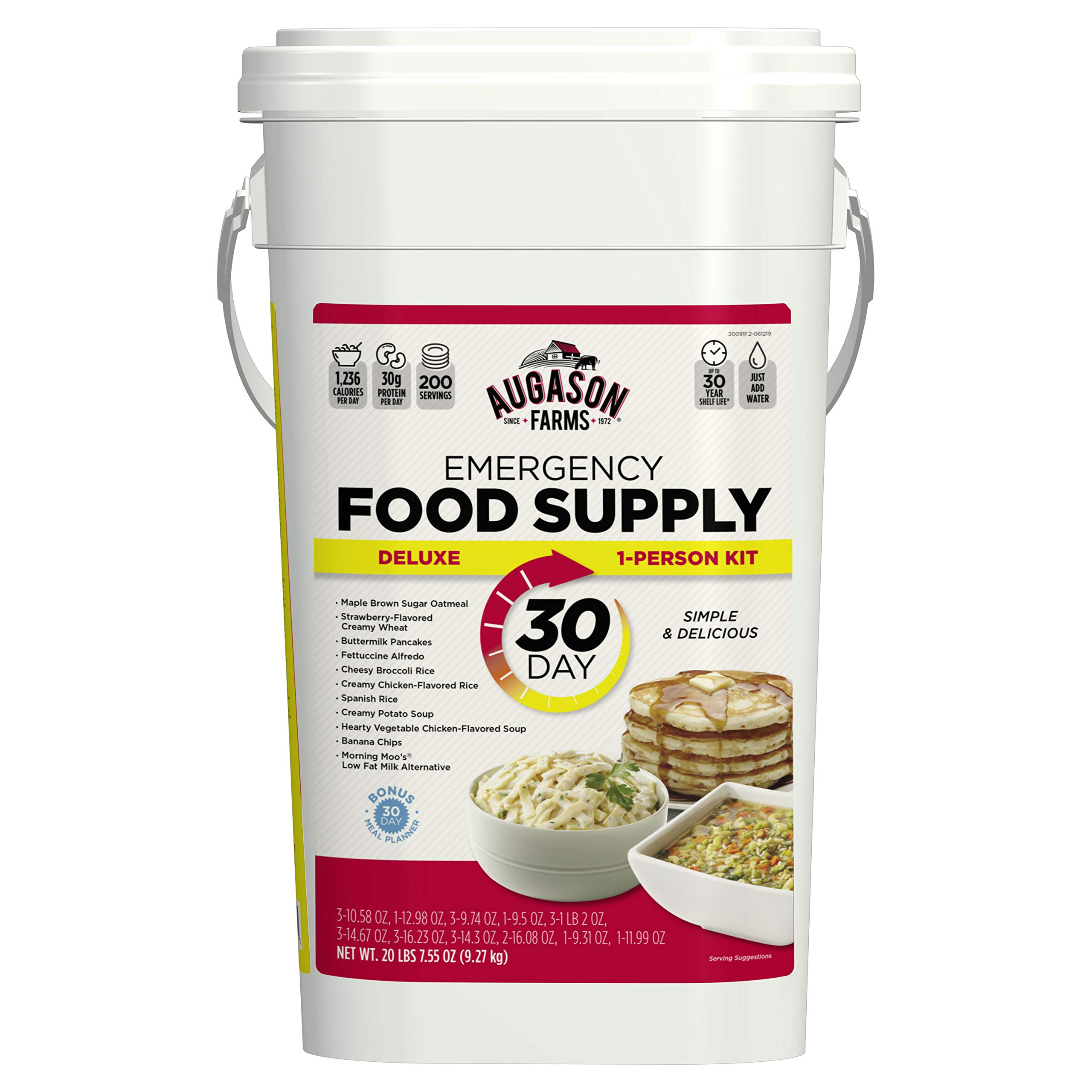 Augason Farms 5-20091 Deluxe Emergency 30-Day Food Supply (1 Person), 200 Servings, 36,600 Calories, Net Weight 20 lbs. 7 oz. by Augason Farms