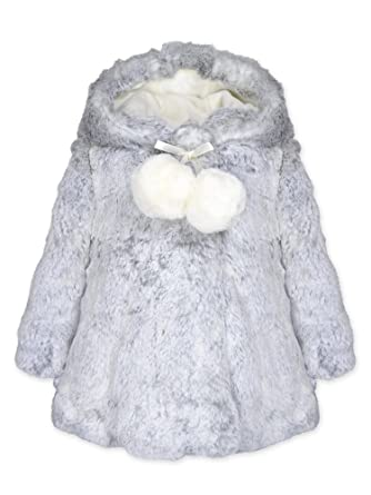 24f302352 Amazon.com: Widgeon Baby Girls Hooded A-line Faux Fur Coat with Pompom  3706: Clothing