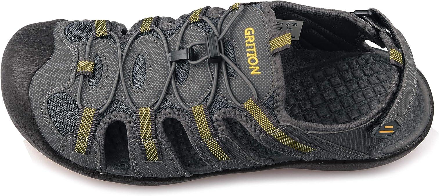 GRITION Sandales Homme Ext/érieures pour Grande Taille Sport Sandales de Rapide Dry Randonn/ée Toile de Protection Chaussures D/ét/é