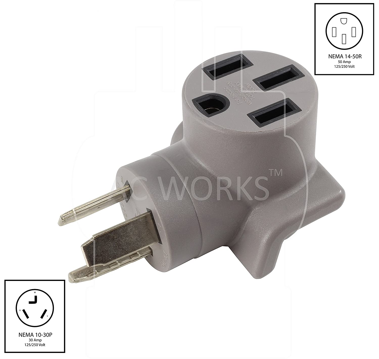 AC WORKS EV Charging Adapter for Tesla Use 10-30 30A 3-Prong Dryer to Tesla