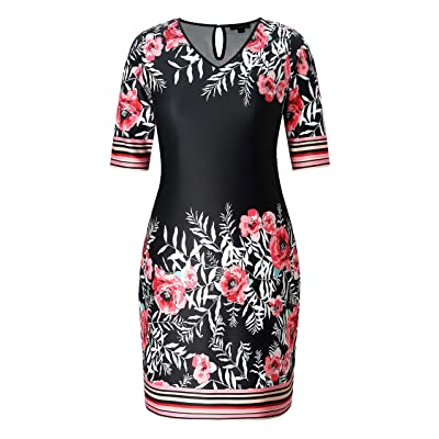Chicwe Women's Plus Size Casual V Neck Shift Dress with Multi Floral at Women's Clothing store