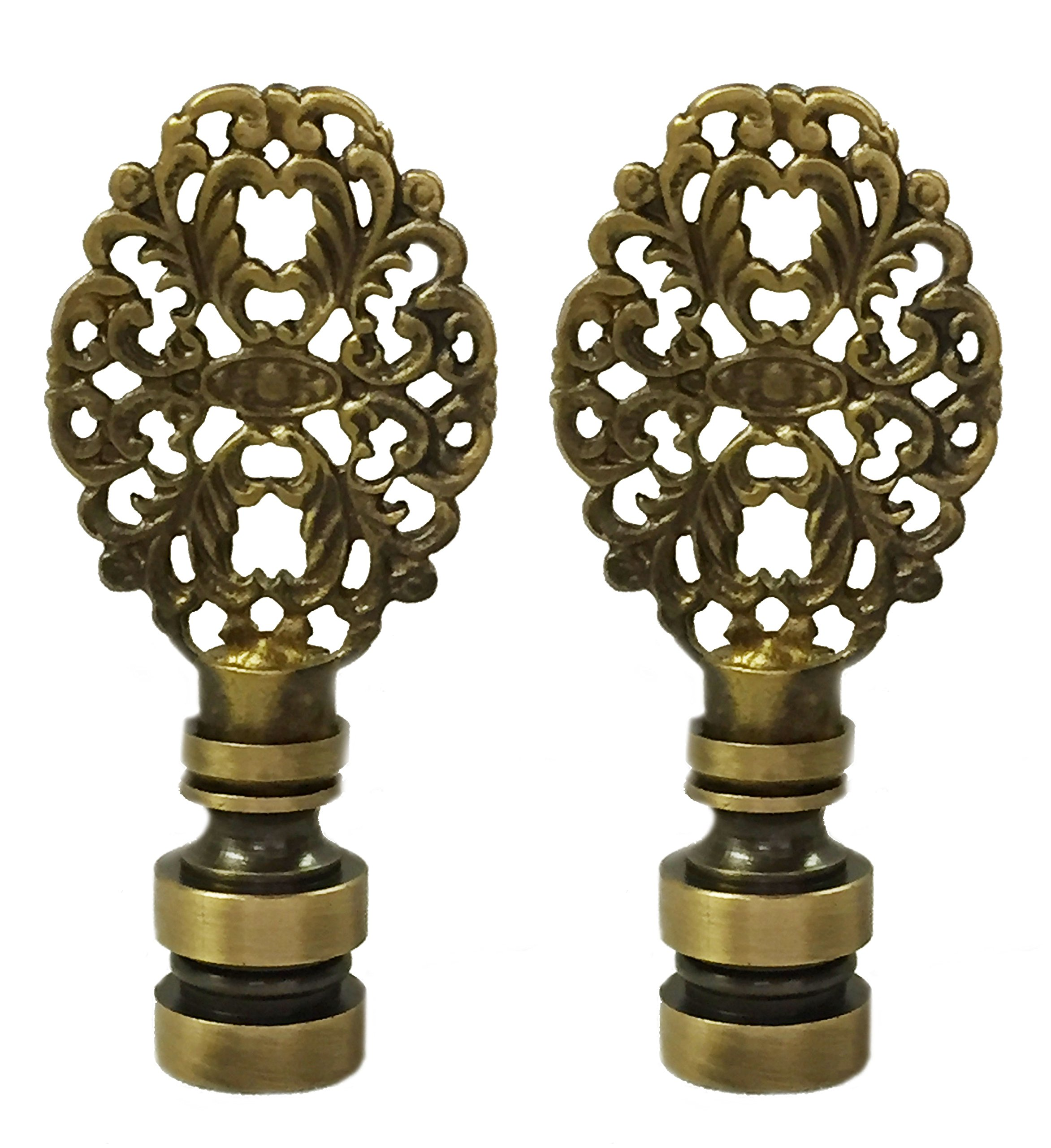 Royal Designs Oval Filigree Lamp Finial for Lamp Shade- Antique Brass Set of 2