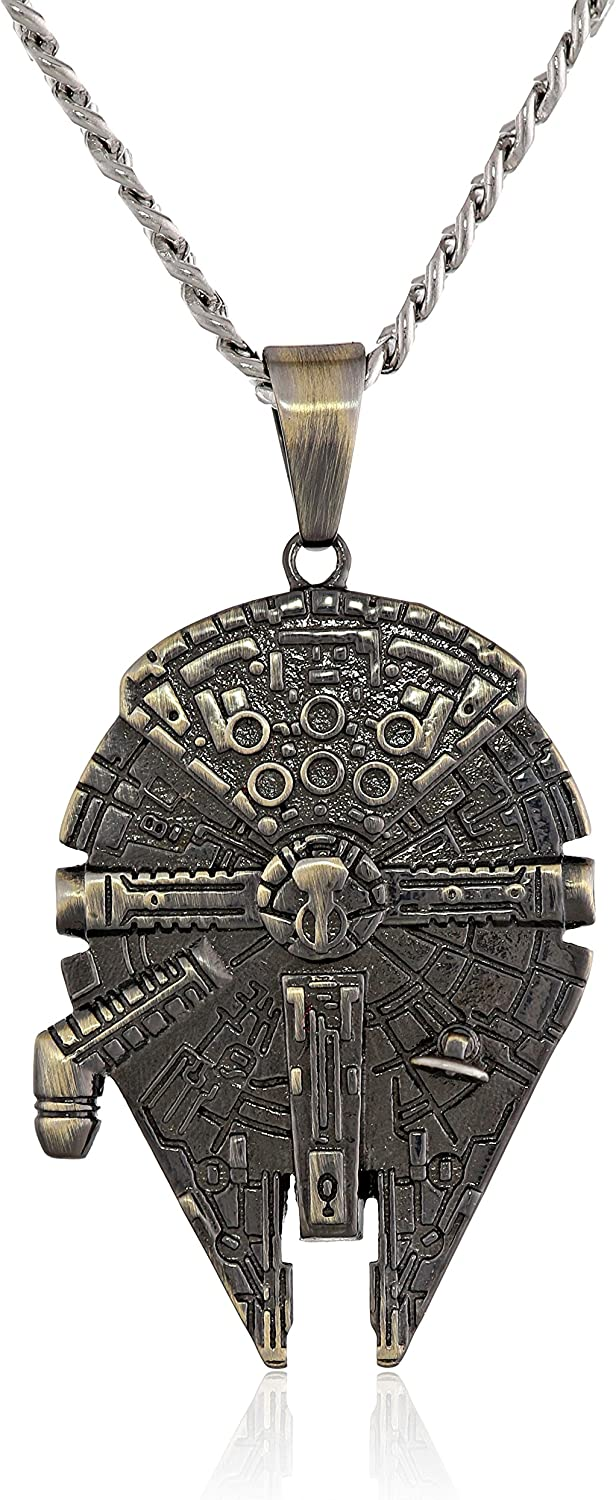 Star Wars Jewelry Unisex Stainless Steel Millennium Falcon Pendant Necklace