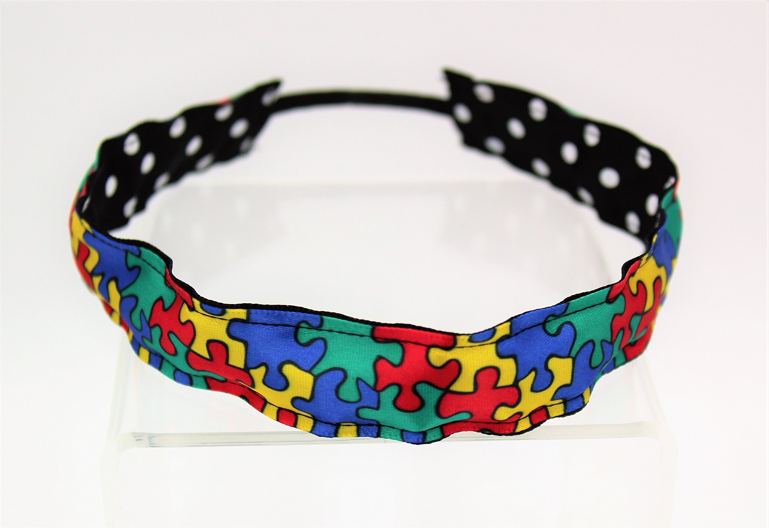 Autism Awareness Puzzle Ribbon Stretch Reversible Sports Elastic Headband Black with White Dots