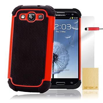 32nd® Funda Rígida Anti-Choques de Alta Proteccion para Samsung Galaxy S3 Siii i9300 Carcasa Defensora de Doble Capa - Rojo