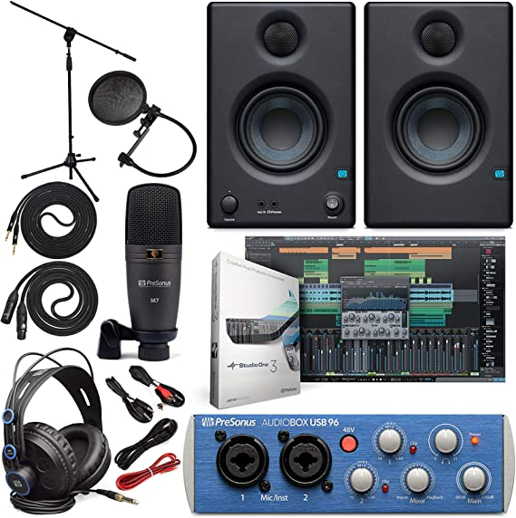 "Presonus AudioBox 96 Audio Interface Full Studio Bundle with Studio One Artist Software Pack w/Eris 3.5 Pair Studio Monitors and 1/4"" TRS to TRS Instrument Cable"