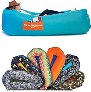 CHILLBO SHWAGGINS Inflatable Furniture & Inflatable Couch Inflatable Lounger & Inflatable Chairs - top Beach Chair, Lounger & Festival Accessories - for Camping and Music Festivals!