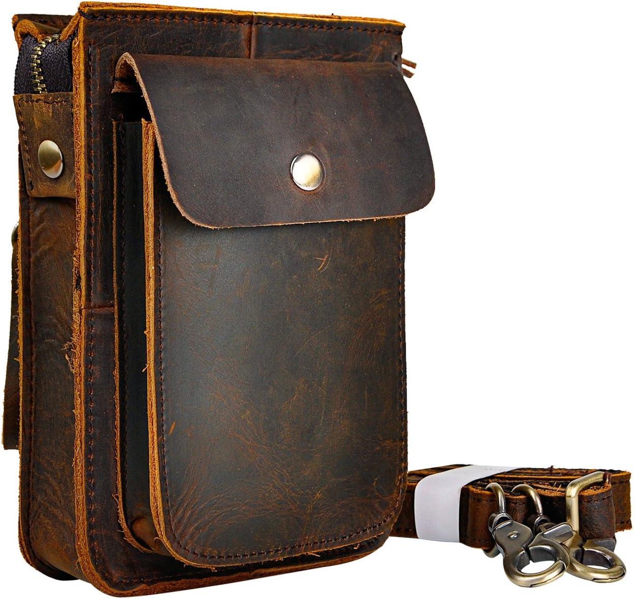 Le'aokuu Hombres Cuero Genuino Bolso pequeño Bolso de Viaje al Aire Libre Bolso de Cadera con Cinturón Bolso Cintura de Paquete de Viaje Bolso de Mensajero y Bandolera Caza/Senderismo(021 A marrón)