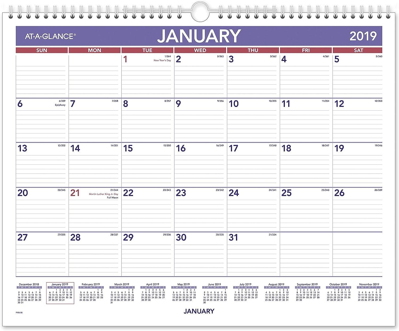 "AT-A-GLANCE 2019 Monthly Wall Calendar, 15"" x 12"", Medium, Wirebound (PM828)"