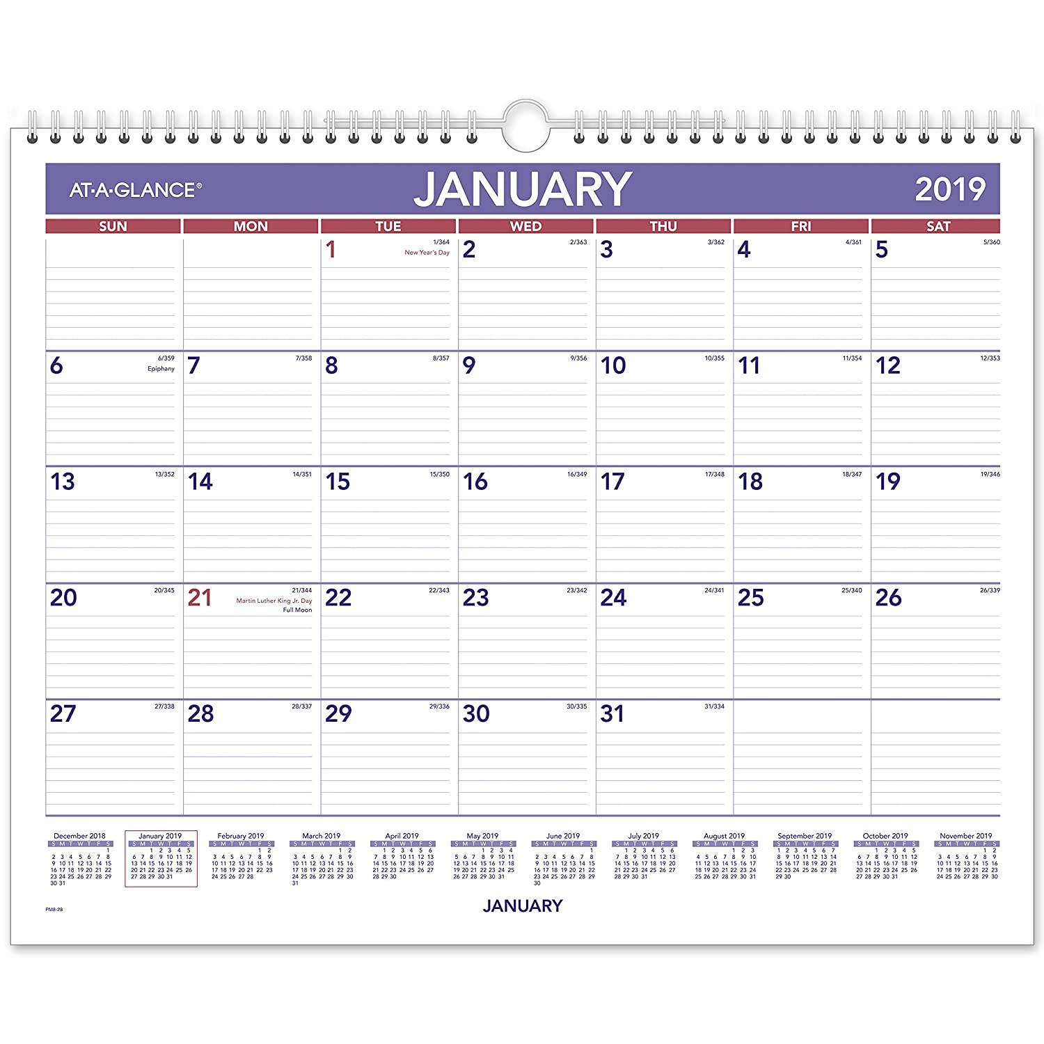 AT-A-GLANCE 2019 Monthly Wall Calendar, 15 x 12, Medium, Wirebound (PM828) 15 x 12 ACCO Brands PM82819
