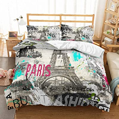PATATINO MIO Retro Eiffel Tower Bedding Set King for Teens Vintage Fashion Paris Gray Duvet Cover Set for Boys,Girls and Adults,3 Piece with 2 Pillow Sham,No Comforter: Home & Kitchen