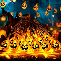 Fenvela de Halloween Decoraciones, 20 LED Calabaza Halloween Luminosa, 3M Luces Halloween Calabaza con Modos de…