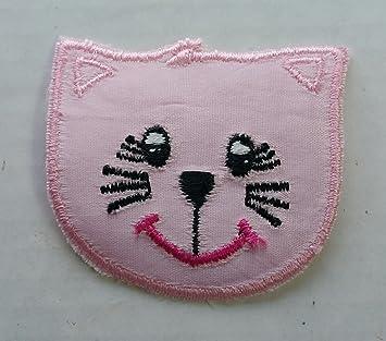 Bebé parche rosa Kitty Face Cat círculo hierro parche bordado para coser PC Insignia Parches Craft niña Mix appliques 5 4 Infant DIY ropa de costura: ...