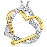 """MARENJA argent-collier crystal-women de deux tons Bicolor plaqué or collier avec pendentif cœur croisé Gravure """"I love you-Oxyde de zirconium"""