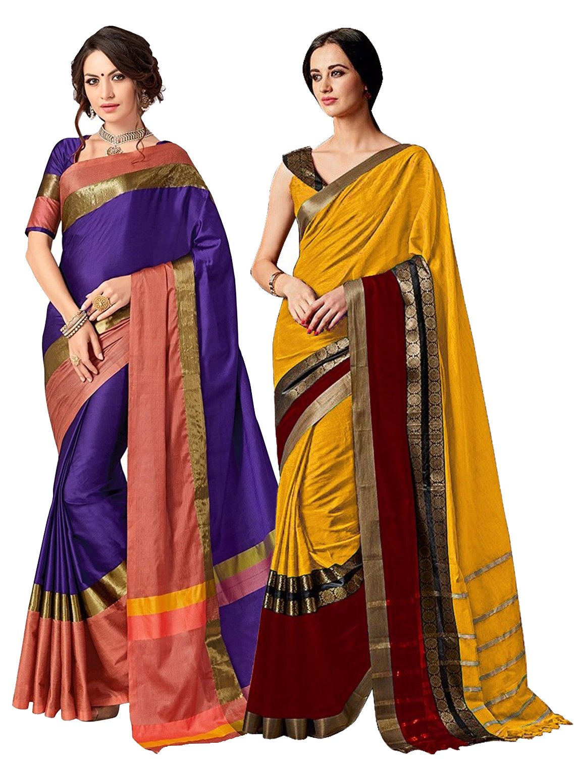 ELINA FASHION Pack of Two Sarees For Indian Women Cotton Art Silk Printed Weaving Border Saree    Sari Combo (Multi 8)