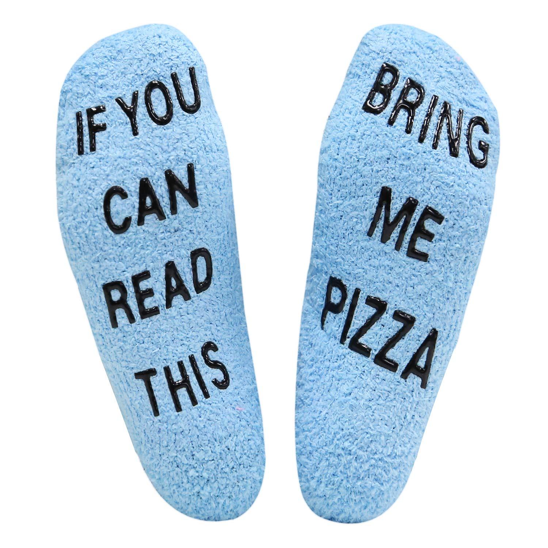 Happypop Slipper Socks If You Can Read This Fuzzy Crew Winter Warm Socks Bring Me Pizza Thermal Socks For Men Women Hollowen Christmas Birthday housewarming Gift