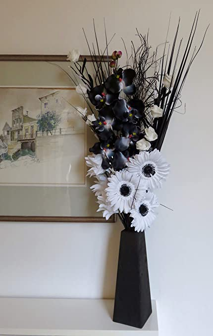 Unique Dried Artificial Flower Bouquets 85cm Tall With Wood Vase Made In Uk Black White Amazon Co Uk Kitchen Home