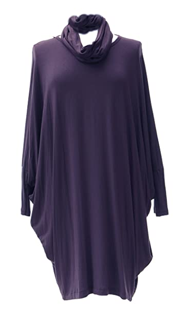e3a9d3dc3d8 Ladies Womens Italian Lagenlook Long Sleeves 2 Piece Snood Tulip Hem  Viscose Tunic Top One Size (Aubergine, One Size): Amazon.co.uk: Clothing