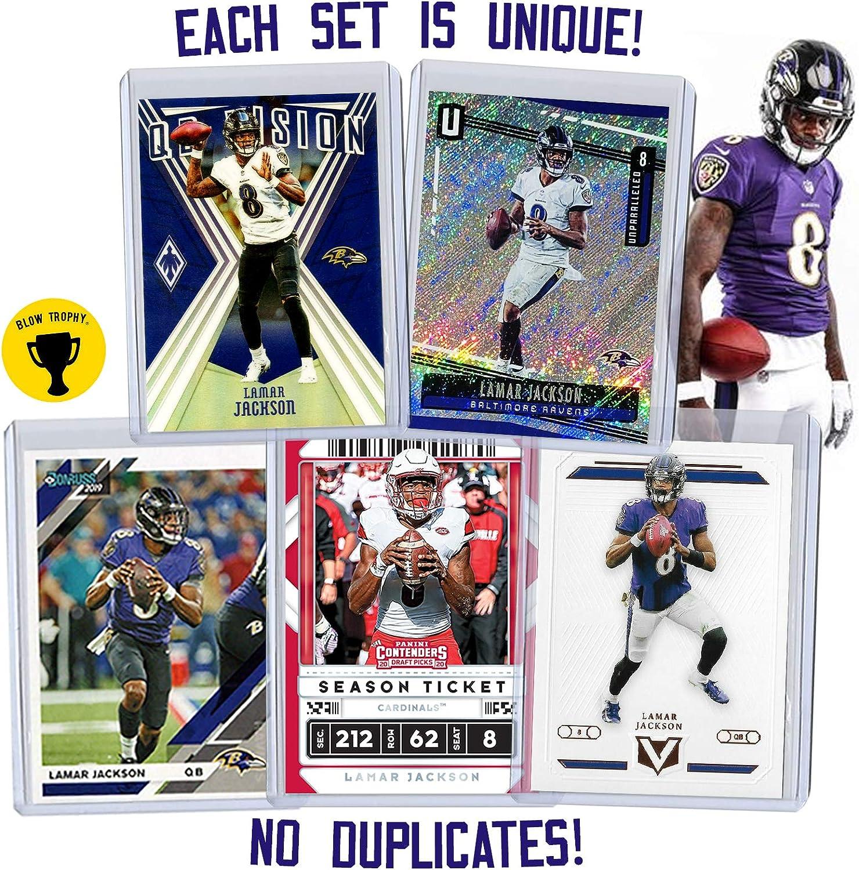 Lamar Jackson Football Card Bundle Protected by Sleeve and Toploader Set of 5 Assorted Baltimore Ravens and Louisville Cardinals Mint Football Cards Gift Set of Heisman MVP Quarterback Lamar Jackson