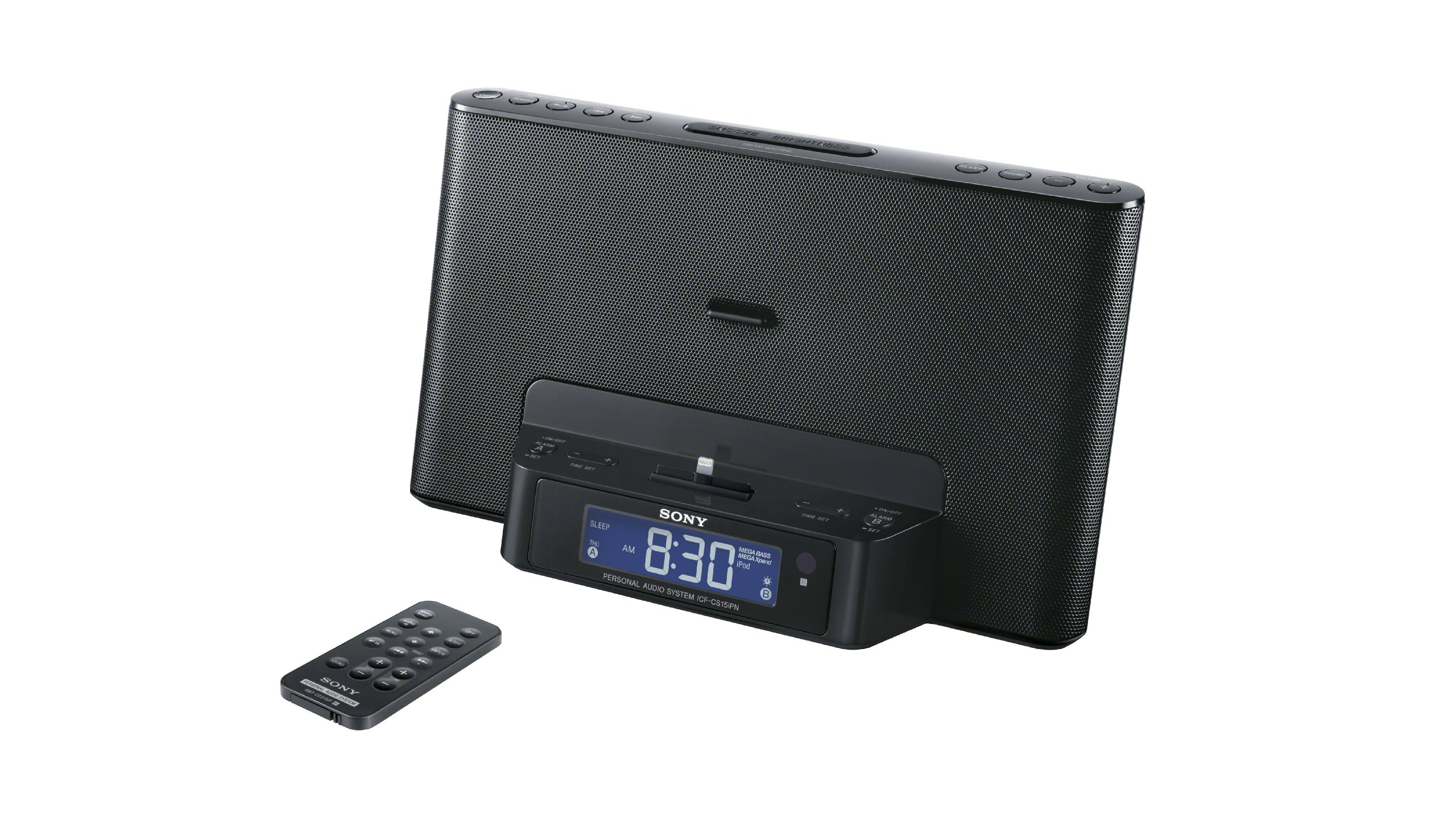 Sony ICFCS15IPN Lightning iPhone/iPod Clock Radio Speaker Dock (Black)  (Discontinued by