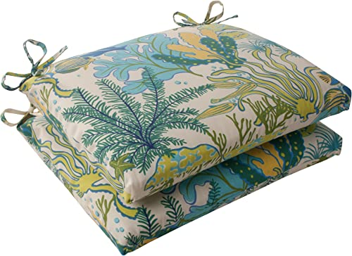 Pillow Perfect Outdoor Indoor Splish Splash Marina Square Corner Seat Cushions, 18.5 in. L X 16 in. W X 3 in. D, Multicolored, 2 Pack