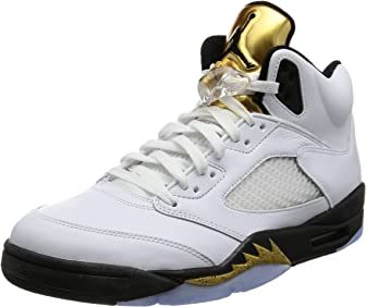 Nike Mens Air Jordan 5 Retro Olympic Basketball Shoes,White,US Size 10 Medium