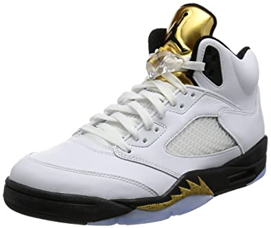 Jordan Men's Air 5 Retro, OLYMPICS-WHITE/BLACK-MTLC GOLD COIN,
