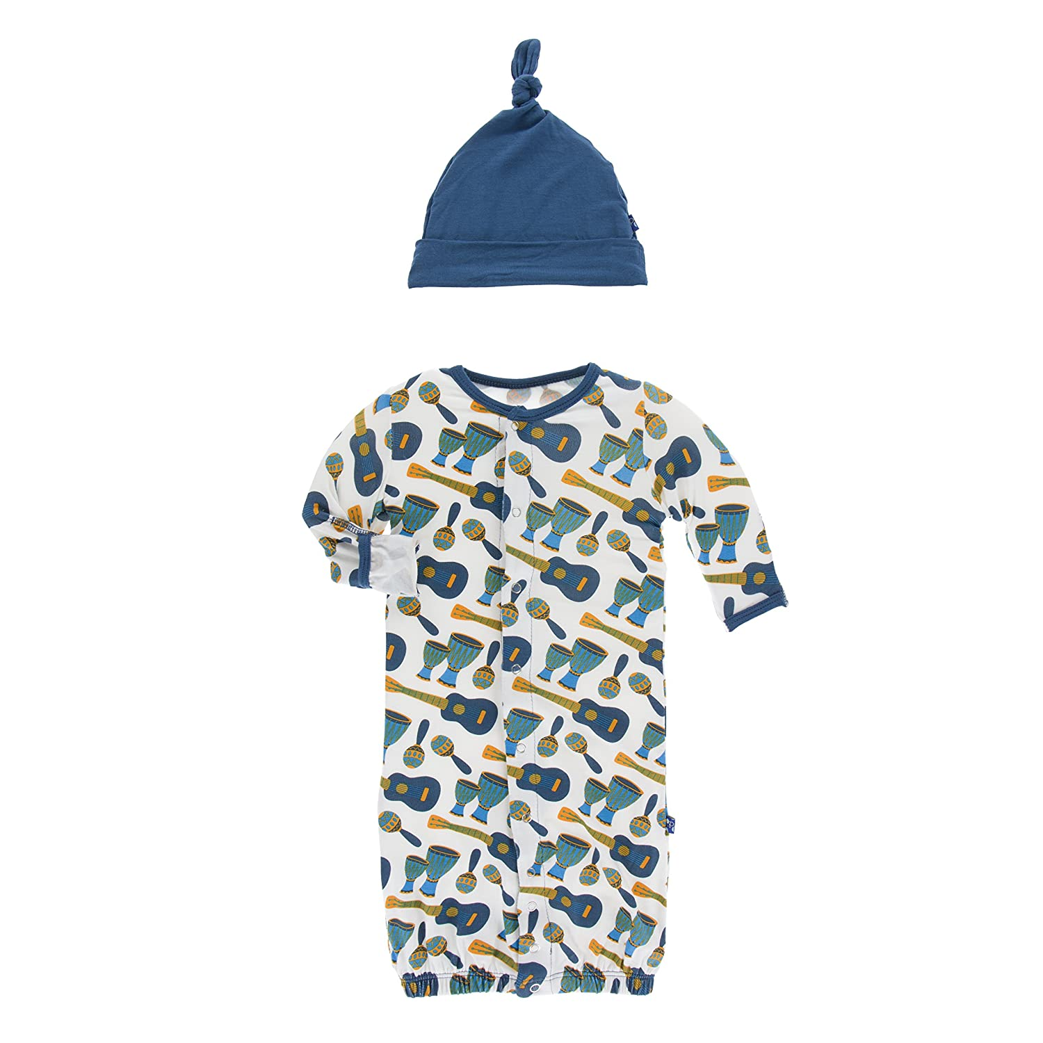 Kickee Pants Baby Boys' Print Layette Gown Converter & Knot Hat Set Prd-kplc746-nst
