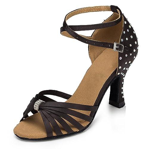TDA Women s Crystal Bow Ankle Strap Black Satin Latin Ballroom Dance Shoes  Wedding Sandals 4 M 89a548b241c1
