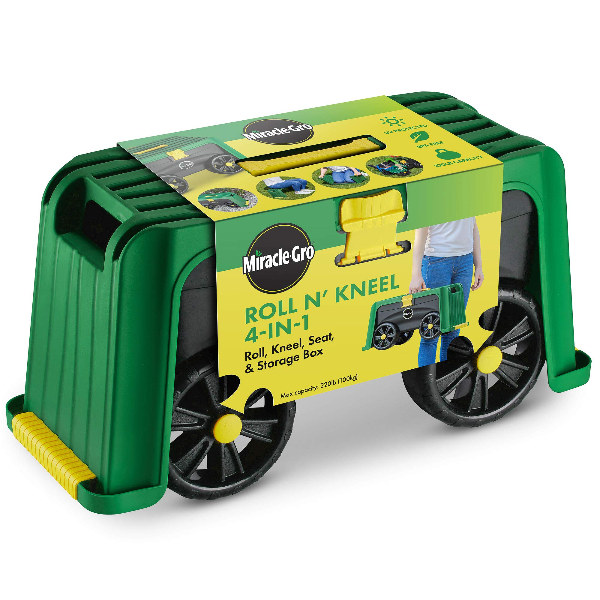 Miracle-Gro 4-in-1 Garden Stool - Multi-Use Garden Scooter with Seat - Rolling Cart with Storage Bin - Padded Kneeler and Tool storage - Accessible Gardening for All Ages + FREE Scotts Gardening Glove by Miracle-Gro