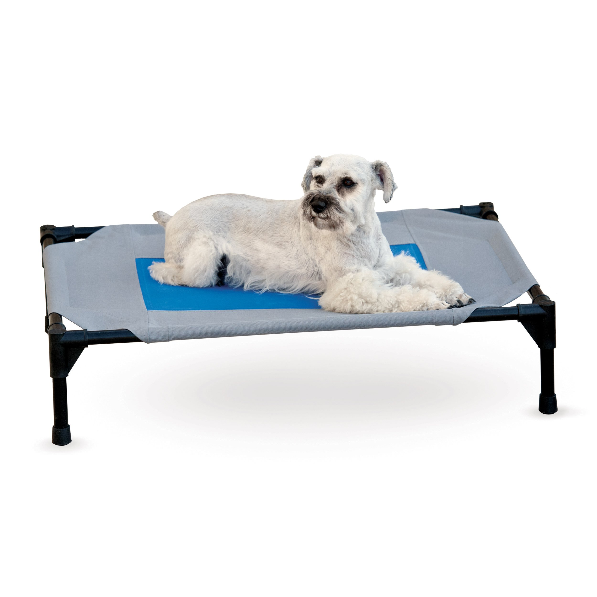 K&H Pet Products Coolin' Pet Cot Elevated Pet Bed Medium Gray/Blue 25'' x 32'' x 7''
