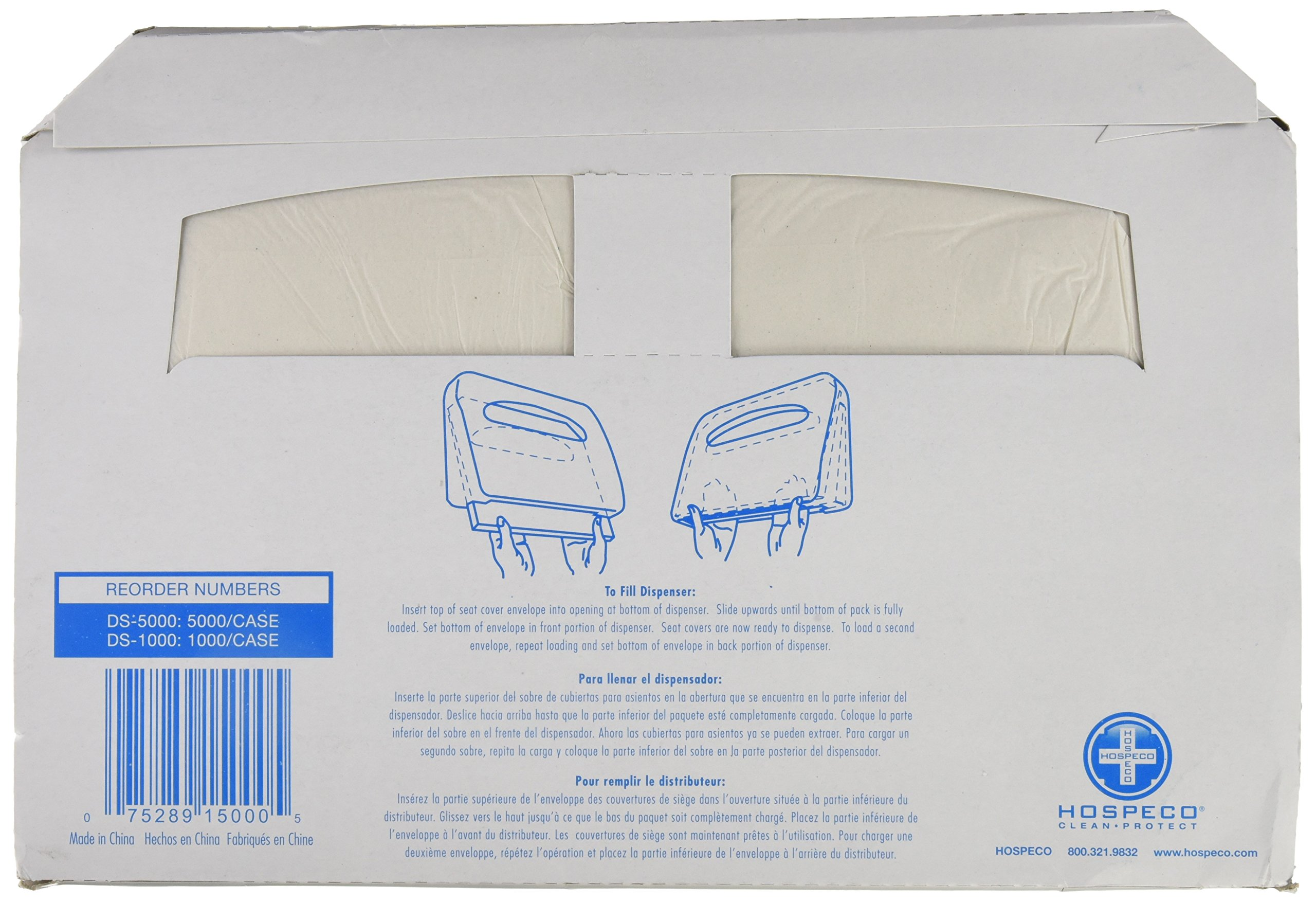 Discreet Seat DS-1000 Half-Fold Toilet Seat Covers, White (4 Pack of 250) by Hospeco